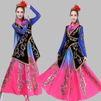 vestidos de estilo popular de las mujeres al por mayor-Vestido largo de la minoría china Nuevo estilo Xinjiang ropa femenina nacional Trajes de danza folclórica tradicional china Mujeres Etapa étnica desgaste