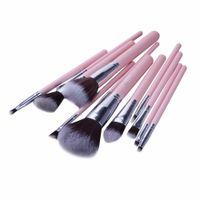 jessup escovas de maquiagem venda por atacado-Jessup marca 12 pcs rosa prata profissional jogo de escova de maquiagem beauty make up cosméticos kit eyeshadow fundação blush ferramentas