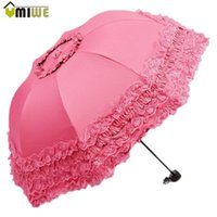 арочный верх оптовых-Top Quality Korea brand New Arched Umbrellas Women Sun Rain Princess Umbrella Lace Wedding Parasol Great Gift Girl's Umbrella