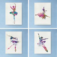 ballettplatte kunst großhandel-Bunte Ballerina Balletttänzerin Minimalistische Kunst Leinwand Poster Ungerahmt Malerei Bild Druck Für Moderne Wohnkultur