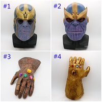 Wholesale mask characters for sale - Group buy Avengers Endgame Thanos mask and gloves New Children s adult Halloween cosplay Natural latex Infinity Gauntlet Toys B