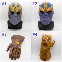 erwachsene spielzeug latex großhandel-Avengers 4 Endgame Thanos Maske und Handschuhe 2018 Neue Kinder Erwachsene Halloween Cosplay Naturlatex Infinity Gauntlet Toys B
