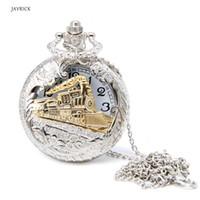 relógios de prata antigos venda por atacado-Vintage Prata Charme Trem de Ouro Cadeia de Bolso Antigo de Quartzo Das Mulheres Dos Homens Relógio de Colar de Pingente de Relógio Presentes