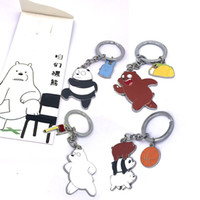 Wholesale zinc toy figures for sale - We Bare Bears Keyring Cartoon Cute Metal Key Buckle For Men Women Action Figures Toy Keychains Popular xy BB