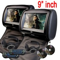 Wholesale car dvd monitors - universal 9'' Car Headrest pillow car DVD Player zipper car Monitor Digital TFT Screen Headrest DVD Player FM USB Game Disc+2 IR Headphones