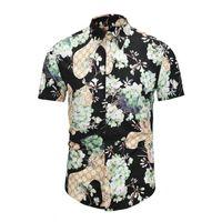 Wholesale turn clothing for men online - 2018 New Luxury Brand mens clothing D printing lapel shirts for men designer Italy Fashion shirt Themens t shirt