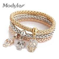 ingrosso crani d'amore-Modyle 2018 New 3 PCS / Set Fashion Oro-Colore Crystal Skull Bracelet Bangle Charm Luxury Love Ancore Cuore Bracciale donna