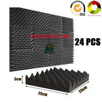 éponge acoustique achat en gros de-24 PCS ignifuge caisse d'oeufs en mousse mousse acoustique studio de traitement sonore insonorisé panneaux Pro Audio équipement d'isolation phonique éponge 10X10X2