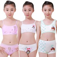Wholesale Young Girls Clothing - Puberty Young Girl Student Cosy Undies Children Clothing Set Teenagers Underwear Set Training Bras Camisole Vest & Panties Boxer