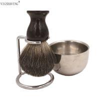 black badger brush NZ - Wholesale-VIGSHAVING Double Stainless shaving bowl Black badger brush shaving kits