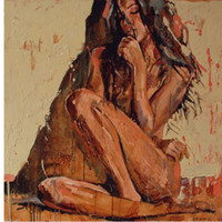 nackte mädchen tafelmalerei großhandel-Handgemaltes abstraktes Porträt-Ölgemälde auf sexy nacktem Mädchen des Segeltuches keine Ausdehnung und keine gestaltete Inneneinrichtung