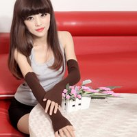 Wholesale arm warmer fingerless long gloves - Women Winter Gloves Knit Wool Fingerless Autumn Half Finger Cuff Glove Solid Color Long Mittens Fashion Warm Driving Arm Sleeve 15db hh