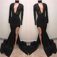 Wholesale Fabulous Evening Gowns - Fabulous High Neck Black Prom Dresses 2018 Appliqued Long Sleeves Mermaid Plunging Sexy Split Evening Gowns Pageant Celebrity Dress