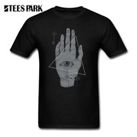 Wholesale Pre Green - T Shirt for Men Witch Hand Print Men illuminati Pre-Cotton Tops Short Sleeved T-Shirts All Seeing Eye Youth Vintage Tee Shirts