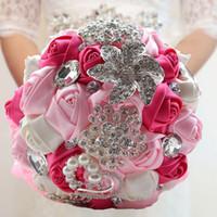 ingrosso diamante fiore artificiale-18CM Nastro Matrimonio Fiori Raso Bouquet Da Sposa Ramos de novia Fiori Artificiali Cristallo Diamante Spilla Bouquet Da Sposa CPA1543
