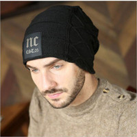 Wholesale mens beanie cap black resale online - 2017 Winter Mens Classic NC Hats Korean Fleece Fashion Beanie Men Snow Caps Knitted Hats for Men Chunky Baggy Warm Gorro