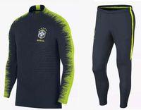 Wholesale long black suit coat - 2018 World Cup brazil soccer tracksuit training suit 18 19 neymar jr coutinho DANI ALVES brazil survetement tracksuit coat top long pants