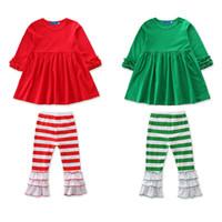 yılbaşı ruffle pants set toptan satış-Bebek Kız Noel Kıyafetleri Çocuklar Kız Giysi Tasarımcısı Fırfır Fırfırlar Pagoda Kollu Elbiseler Çizgili Pantolon Pantolon Sonbahar Giyim Setleri 2-7 T
