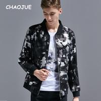 chaqueta de marcas preppy al por mayor-CHAOJUE Brand Short Jacket para Hombres 2018 Primavera / Otoño Latest Design Coat Causal Black Print Zip Coat Estudiante Preppy Style Top