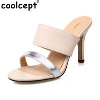 açık parmak sandal topuklu toptan satış-Coolcept Seksi Yüksek Topuklu Kadın Sandalet Açık Toe İnce Topuk Yumuşak Moda Yaz Terlik Kadın Ayakkabı Için Parti Boyutu 33-43