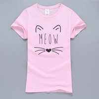heiße orange rosa hemden großhandel-Kawaii Meow Katze Kitty Frauen T-shirt 2017 Sommer Heißer Verkauf 100% Baumwolle Kurzarm T-Shirt Rosa Kpop Harajuku Tops Tees Für Dame