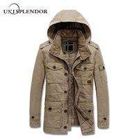 Wholesale Cargo Jackets - 2018 Men Outwear Cargo Jacket Winter Autumn Man Thick Warm Coat Male Hooded Windbreaker Pockets Design Bomber Jackets YN10201