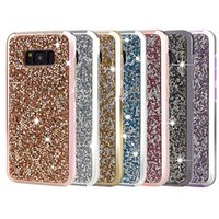 Wholesale Galaxy Note Bling - Luxury Glitter Bling Rhinestone Case 2in1 Electroplate TPU Hard PC Back Cover Phone Case for Samsung Galaxy Note 8 S9 S9plus