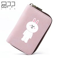 Wholesale leather buckle id card resale online - APP BLOG Cute Cartoon Cony Fashion Holder Women Girl Teenager Travel Cards Wallet PU Leather Buckle ID Card Holders