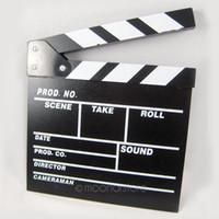 шиферные доски оптовых-Director Video Acrylic Clapboard Dry Erase TV Film Movie Clapper Board Slate with Color Sticks 20*20cm