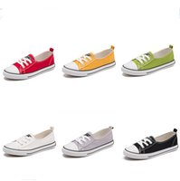 Wholesale wholesale lace fabric for sale - Spring Summer slips Canvas Shoes low cut Sneakers Shallow Flat Casual Comfortable Laced Up Slip-on plimsolls for Girls Students 2018 sale