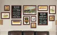 habitaciones pintadas de negro al por mayor-Sala de estar de lujo Sofá de la oficina Telón de fondo Pintura decorativa Atmósfera creativa Negro Marco de fotos Pinturas Adornos colgantes
