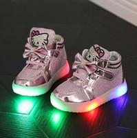 merhaba sporlar toptan satış-Çocuk Ayakkabı Yeni Bahar Hello Kitty Taklidi Led Ayakkabı Işık Boyutu Ile Spor Kızlar Prenses Sevimli Ayakkabılar 21-30