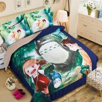 totoro bed al por mayor-3D japonés anime Totoro dibujos animados niños ropa de cama conjunto 3 / 4Pcs completo / reina / gemela cama king size ropa de cama conjunto para decoración para el hogar de los niños