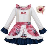 etek düğünü ayarla toptan satış-Pettigirl Sonbahar Düğün Kız Giyim Seti Tasarımcı çocuklar Beyaz Kıyafet ve Çiçek Pirnted Etek Çocuk Giyim G-DMCS101-B201