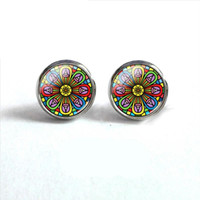47afd6d35 2018 New Mandala Round Earring Regular Pattern Earrings Silver Jewelry Glass  Dome Ear Studs For Women Stainless Steel. Supplier: autumngirl