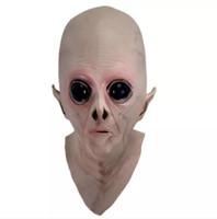 lateks yabancı maskeleri toptan satış-Korkunç Silikon Yüz Maskesi Alien UFO Ekstra Karasal Parti ET Korku Kauçuk Lateks Tam Maskeleri Cadılar Bayramı Partisi Oyuncak Prop