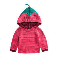 Wholesale Wholesale Jumper Knit - Kids Strawberry Sweaters Hoodies Knitted Pullover for Boys Girls for Winter Autumn Spring Hooded Sweater 0-5T