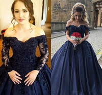 Wholesale vintage portrait photo - Navy Blue Prom Dresses Long Sleeve Lace Applique Beaded Off the Shoulder Sweet 16 Quinceanera Dress 2018 Custom Made Party Gowns