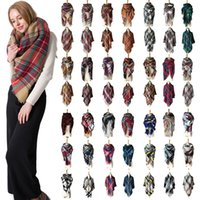 Wholesale long double sided shawl wrap - Autumn and winter warm cashmere increase double-sided colorful square scarf long scarf scarf air-conditioned shawl wholesale