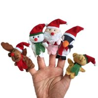 ingrosso puntelli a mano-5 pz / set Baby Peluche Serie di Natale Finger Puppets Tell Story Puntelli Babbo natale alce pupazzo di neve Bambola mano Puppet bambini regalo R4