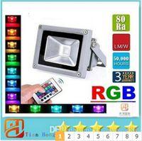 rgb led inundaciones controladas al por mayor-Luz de inundación llevada RGB 10W 20W 30W Reflectores llevados Impermeables Luces exteriores para exteriores Función de memoria cambiante de color AC 85-265V + Control remoto