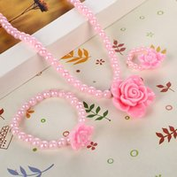 perlen rosa armband großhandel-Perlen Kinder Nachahmung Perlenschmuck Beste Baby Rosa Mädchen Kinder Schmuck Set Rose Blume Halskette Armband Ring