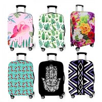 Wholesale protective suitcase covers - Colorful Flower Suitcase Covers Elastic 18-28 Inch S M L Size Travel luggage Cover Protector Dustproof Spandex Protective Cover