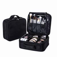 büyük su geçirmez seyahat kozmetik çantaları toptan satış-Kadınlar Profesyonel Kozmetik Çantası Büyük Su Geçirmez Seyahat Makyaj Çantası Gövde Fermuar Makyaj Organizatör Depolama Kılıfı Tuvalet Kiti Kutusu