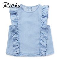 Wholesale baby clothes factory online - Richu tops blouse button down casual checked clothes the baby blouses for girls summer sleeveless clothing for girls pullover China factory