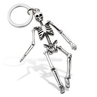 Wholesale Antique Bronze Skull Charm - Skull Keychain For Men Personalized Car Keychains for Couples Fashion Foldable Skeleton Key Chains Key Rings bag charm Gifts