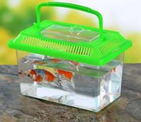 Wholesale pet rats resale online - Little Pet Rabbit rat House Hamster Cage Cute Transparent Plastic Goldfish Bowl Portable For Multi Colors a823