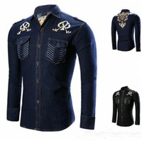 Wholesale mens denim dress shirt - Fashion Male Shirt Long-Sleeves Tops Black Blue Stitching Pattern Cowboy Shirt Mens Dress Shirts Slim Men Shirt