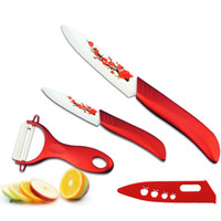 Wholesale pieces knife painting for sale - Group buy Beauty Gifts Kitchen dining bar Red Flower Painted Zirconia Ceramic fruit Knife Set Kit quot quot inch with Peeler Covers