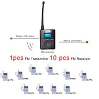 tx antenne großhandel-Kirche Treffen Wireless FM Radio Transmitter Micro USB Aufladung Externe Antenne Übertragungsabstand 500m (1 Stücke TX 10 Stücke Rx)